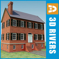 3d model of small town house building
