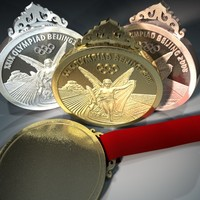 gold silver medals olympic 3d c4d
