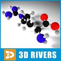 arginine molecule structure 3d model