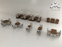 3d restaurant furniture set