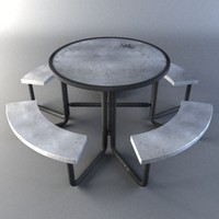 3d model metal picnic table
