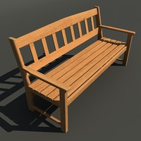 Wood Bench - Low Poly