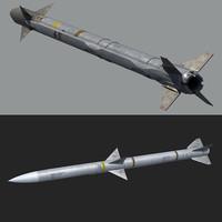 aim-120 aim-9x missiles 3d model