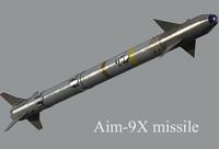3d aim-9x missile