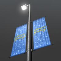 street light banners 3d obj