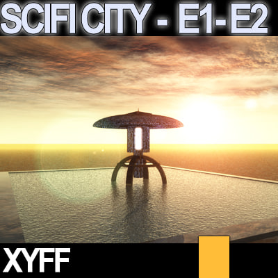 c4d japanese scifi e1 e2 - Xyff SciFi City E1 and E2... by SmartCGArt
