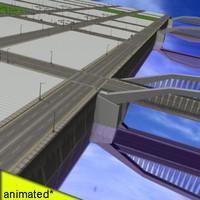 city street river 3d model