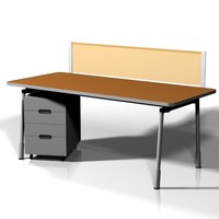 3d office workstation desk