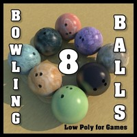 3d model 8 bowling balls polygons