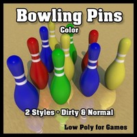 color bowling pins - 3d model