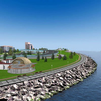 seaside city park 3d model