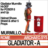 Props Set Poser Daz for Roman Gladiator Murmillo