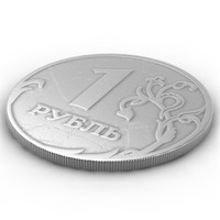 3d model coin russian rouble 1