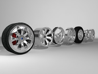 car wheel extra rims obj
