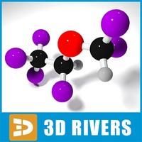 desflurane molecule structure 3d model