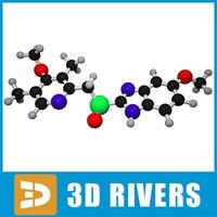 esomeprazole molecule structure 3d model