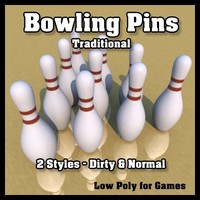 traditional bowling pins - 3d model