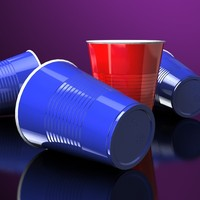 Party cups - Red and Blue - Accurate and scale
