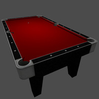 3d billiards table red pool model