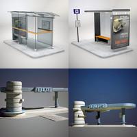 3d bus shelter model