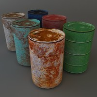 3d model old metal barrels