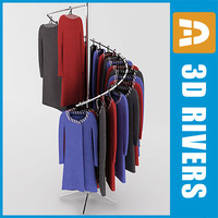 3d model retail clothing rack dresses