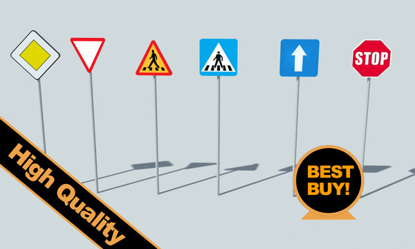 3d model road signs - Road signs... by RippleDesign