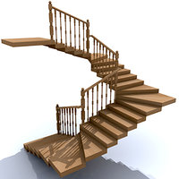 3d stair wood model