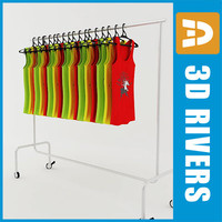 3d retail clothing rack tank model