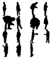 3d people silhouettes model