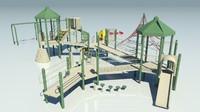 playground park bench trash 3d 3ds