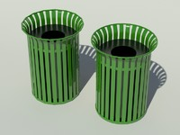 Park Garbage Can high and low poly version
