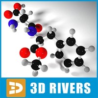 3d model aspartame molecule structure