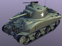 wwii sherman m4-a1 tank 3d model