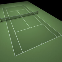 3d green tennis hard court model