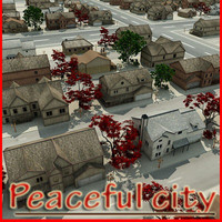 3dsmax peaceful city houses