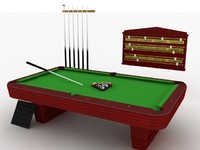 Pool Table Set - High Quality 3d model