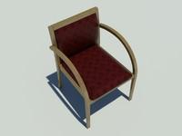 3d model wood guest chair