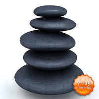 3d black massage stones