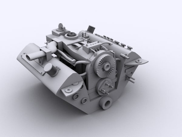 3d max engine vehicle - Vehicle Engine... by redcobra