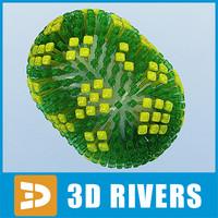 flu virus 3d model