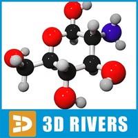 glucosamine molecule structure 3d max