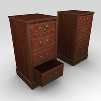 Low Poly Drawer Cabinet 3d Model