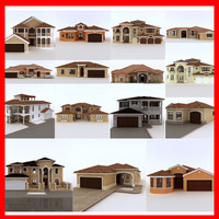 house set of 15 Latin Hacienda Modern villas