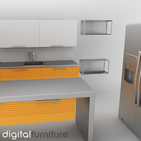 3d model kitchen furniture for Model kitchen set 2016