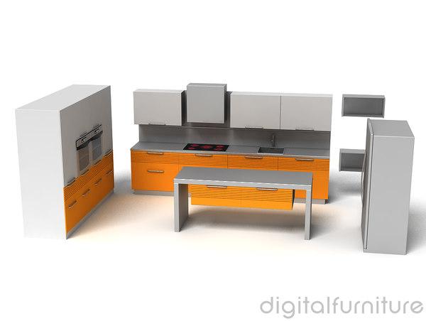 3d model kitchen furniture for Kitchen set 3d warehouse