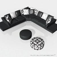 3d luxury corner sofa leather