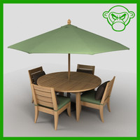 3d table chairs umbrella model