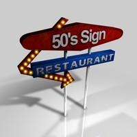 3d 50s diner sign model