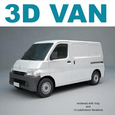 3d Van Toyota Hiace Model
